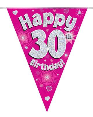 Pink Happy 30th Birthday Bunting