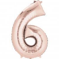 large rose gold number 6 foil helium balloon