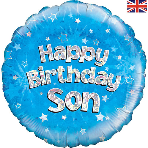 "18"" Blue Happy Birthday Son Balloon - Helium Filled"