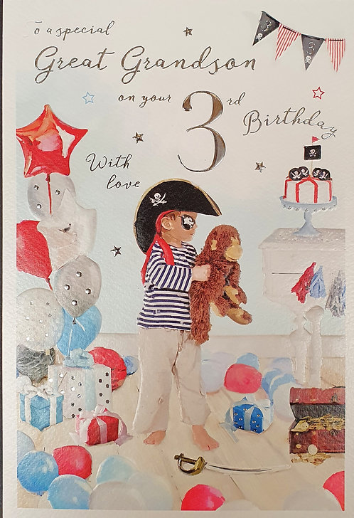 Great Grandson 3rd Birthday Greeting Card Pirate