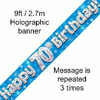 Blue 70th Happy Birthday Party Banner