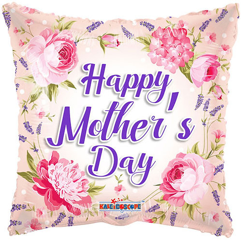 """18"""" Mother's Day Floral Square Balloon - Helium Filled"""