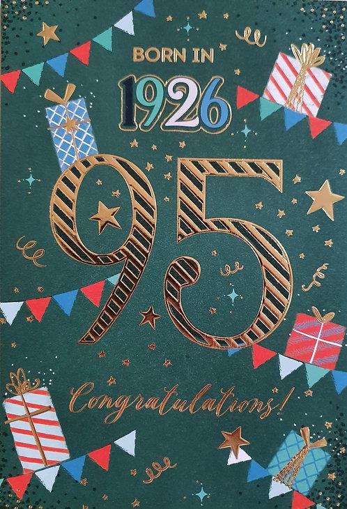 Born in 1926 - Male Age 95 Tri-Fold Birthday Greeting Card