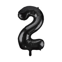 black large number 2 foil helium balloon
