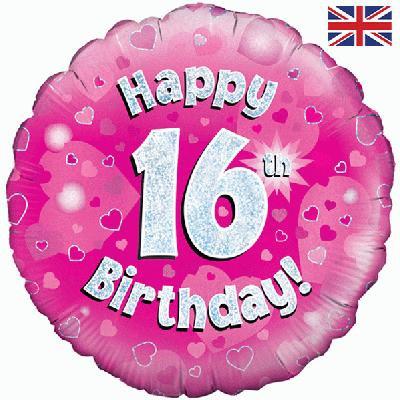 "18"" Pink 16th Birthday Balloon - Helium Filled"