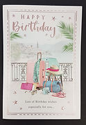 female birthday greeting card suitcase