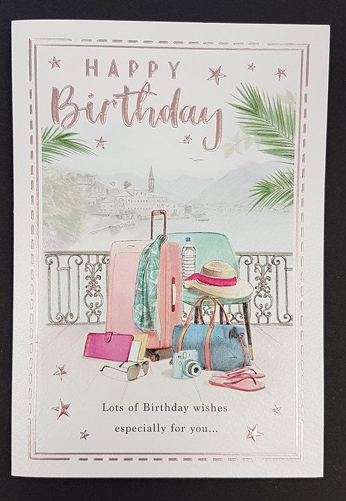 Female Birthday Greeting Card - Suitcase