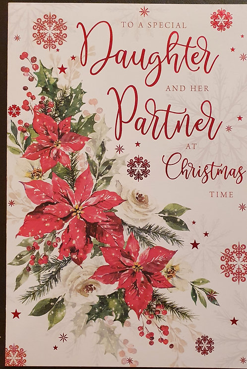 Daughter And Partner Christmas Greeting Card