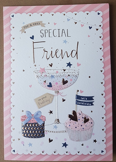 Female Special Friend Birthday Greeting Card With Cocktail Glass