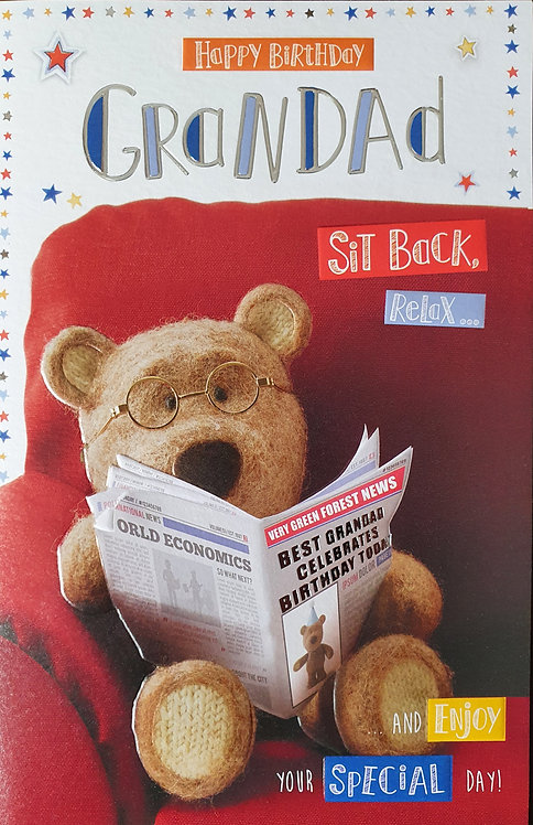 Grandad Birthday Card - Barley Bear