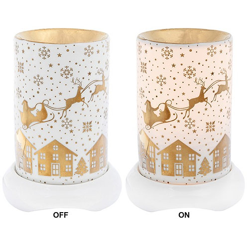 Christmas Aroma Lamp With Gold Santa's Sleigh