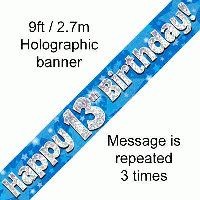 Blue 13th Happy Birthday Party Banner