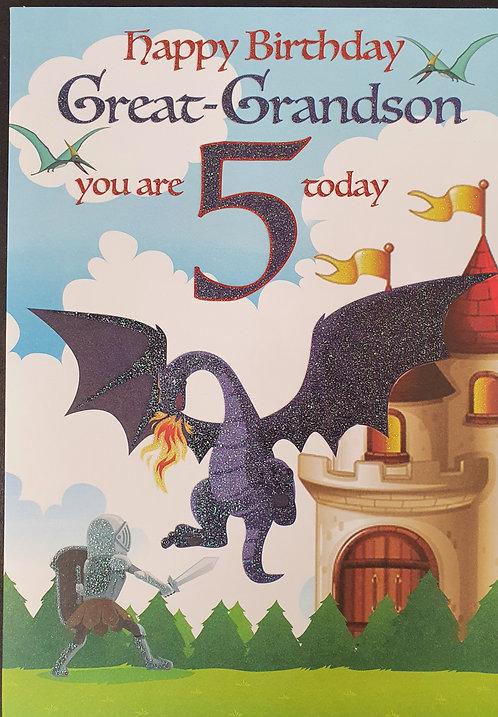 Great Grandson 5th Birthday Greeting Card Dragon