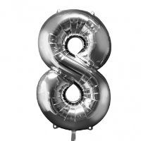 large silver number 8 foil helium balloon