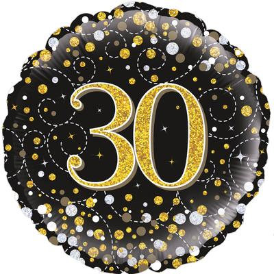 "18"" Black & Gold 30th Birthday Balloon - Helium Filled"