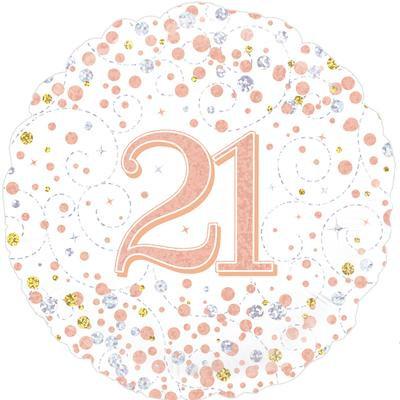 "18"" Rose Gold 21st Birthday Balloon - Helium Filled"