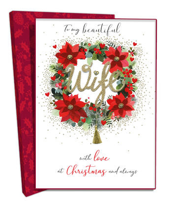 Wife Boxed Christmas Greeting Card With Wreath