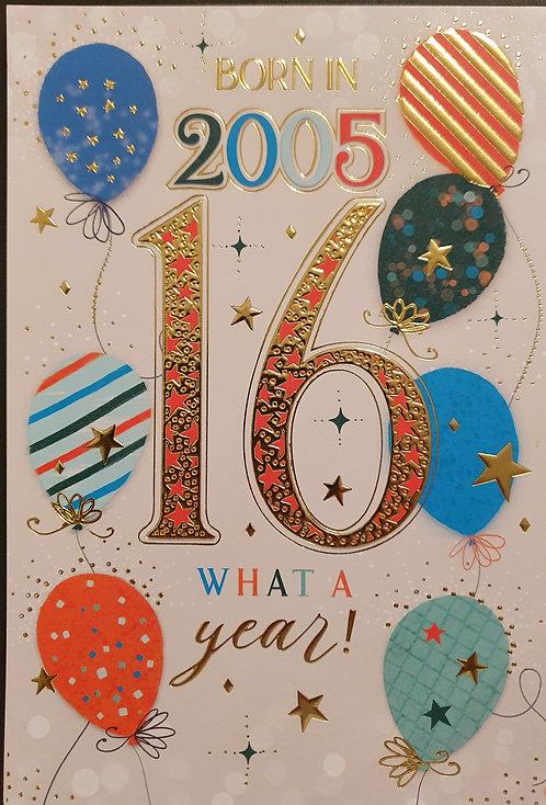 Born in 2005 - Male Age 16 Tri-Fold Birthday Greeting Card