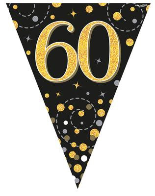 Black And Gold Happy 60th Birthday Bunting
