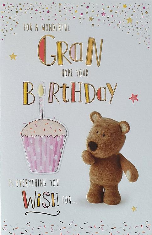 Gran Birthday Greeting Card - Barley Bear