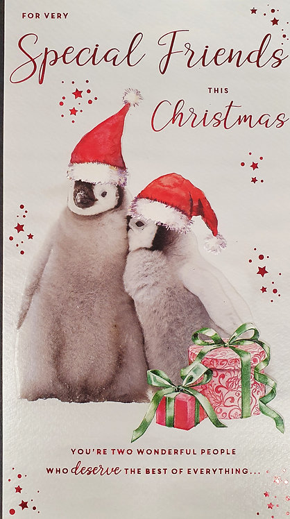 Special Friends Christmas Greeting Card With Penguins