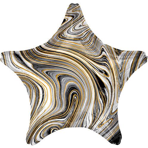 """18"""" Marblez Black Star -  Anagram Balloon - Helium Filled"""