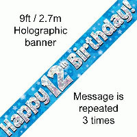 Blue 12th Happy Birthday Party Banner