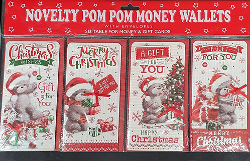 Christmas Money Wallet Pack of 4 - Cute