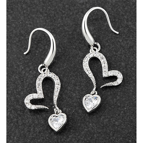 Equilibrium Open Heart Dangly Crystal Platinum Plated earrings