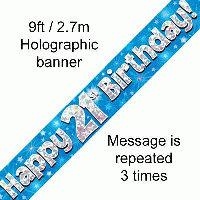 Blue 21st Happy Birthday Party Banner
