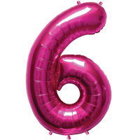 """34"""" Large Number Foil Balloon 6 - Helium Filled"""