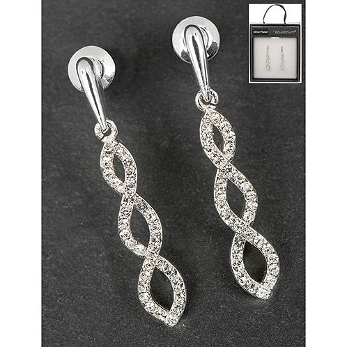 Equilibrium Silver Plated Twisted Diamante Earrings