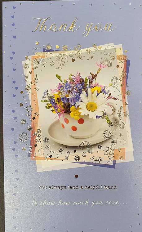 Thank you Greeting Card With Tea Cup And Flowers