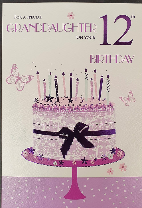 Granddaughter 12th Birthday Greeting Card Front