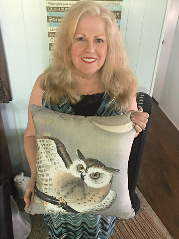 Victoria B holding Evening Owl throw pillow by www.PillowsDuJour.com