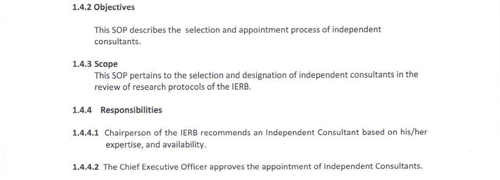 Appointment of Independent Consultants 1