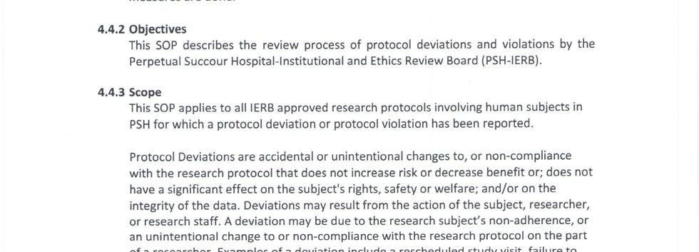 Review of Protocol Deviations & Violatio