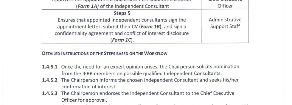 Appointment of Independent Consultants 2