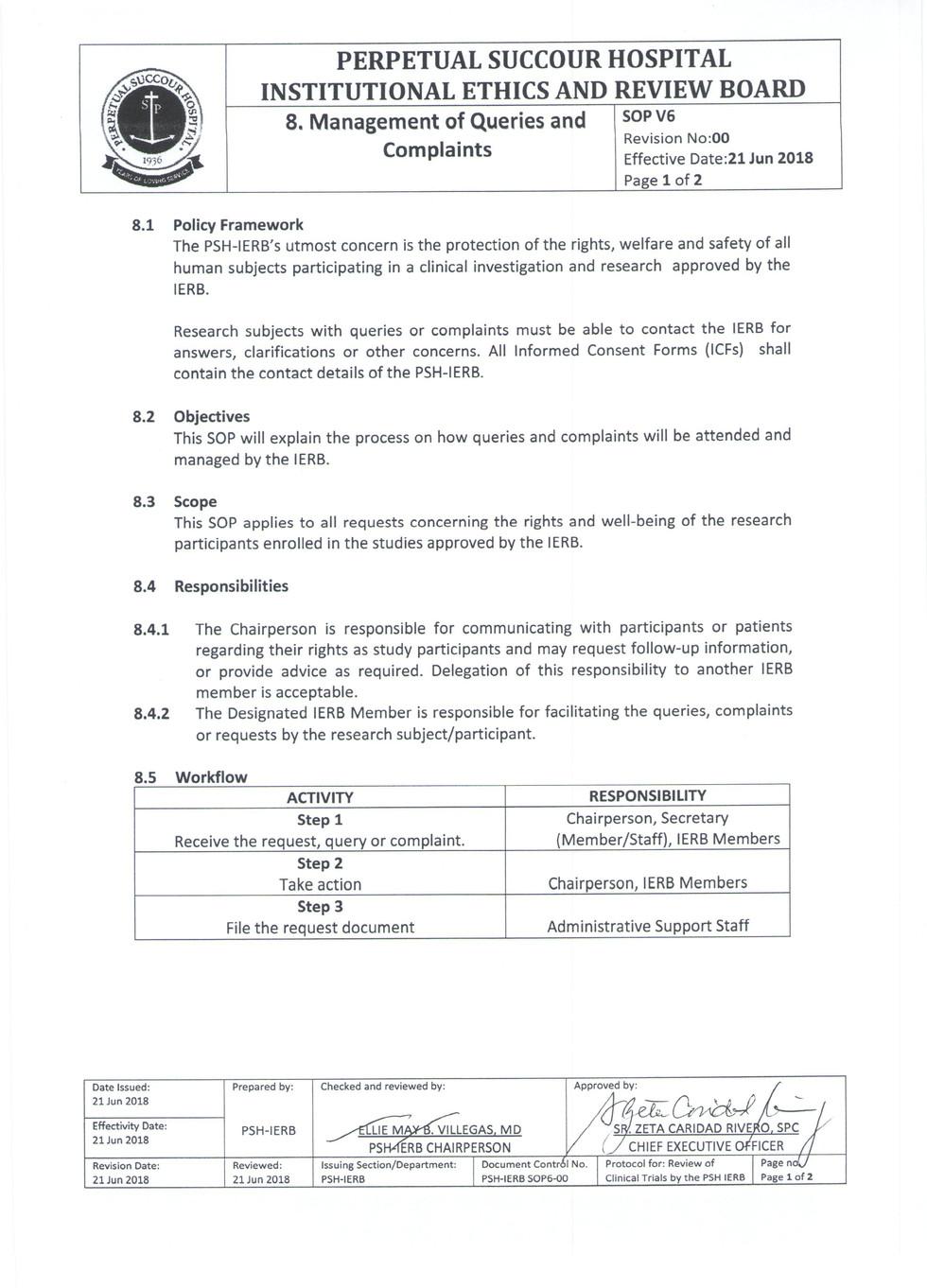 Management of Queries and Complaints 1.j