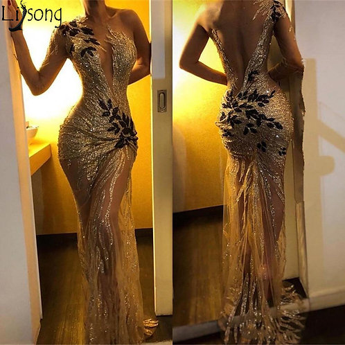 Sexy Sequin Gold Sheer One Shoulder  Lace Applique Sweep Train Formal dress