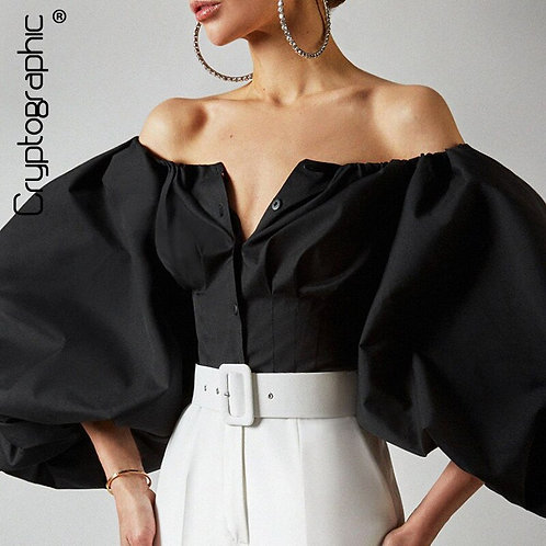 Cryptographic Off Shoulder Lantern Sleeve  Top Button Up Backless Crop shirt