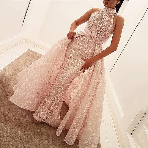High Collar Appliques Lace Long Evening Dresses Famous Red Carpet Dresses