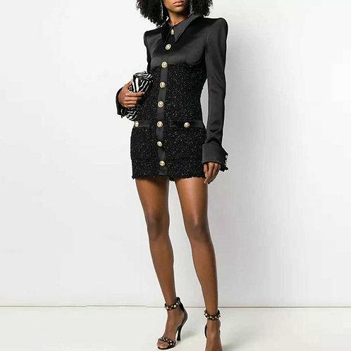 Runway Designer Long Sleeve Lion Metal Buttons Tweed Patchwork Dress