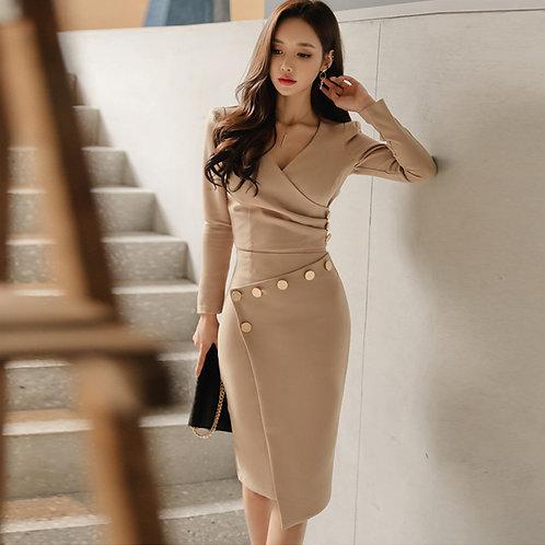 V-Neck Full Sleeve Solid Color Shirt Asymmetrical Skirt 2 Pieces Set