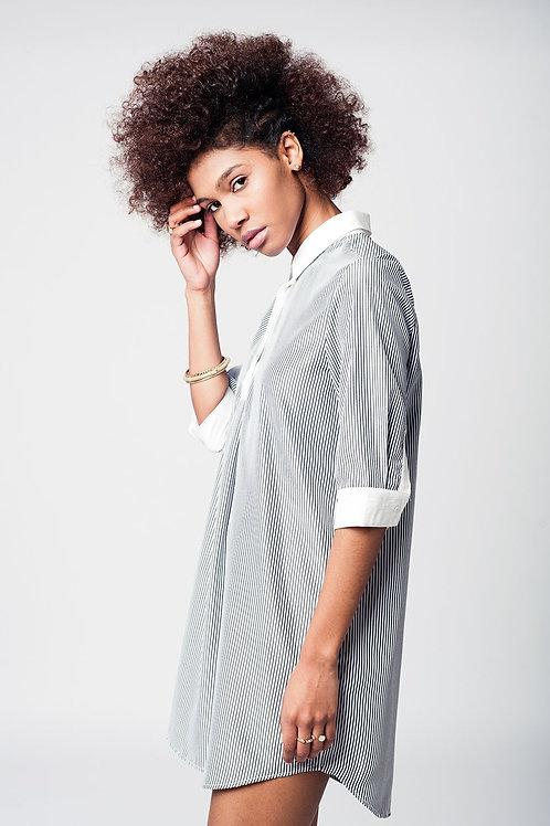 3/4 Sleeve Dress Shirt in Monochrome Stripe