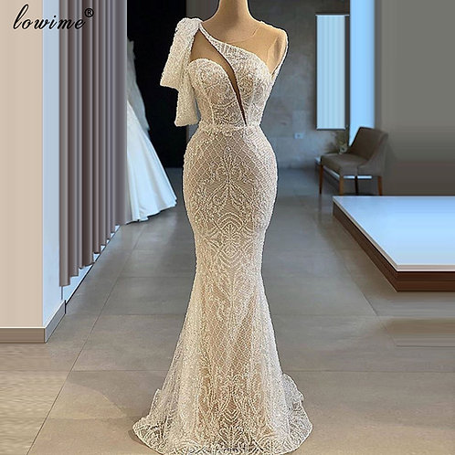 Mermaid One Shoulder Turkish Couture Women Party Gowns Robe Soiree