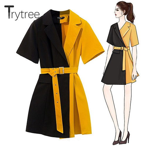 Casual Notched Collar Yellow Patchwork Black Belt Office Lady Dresses A line