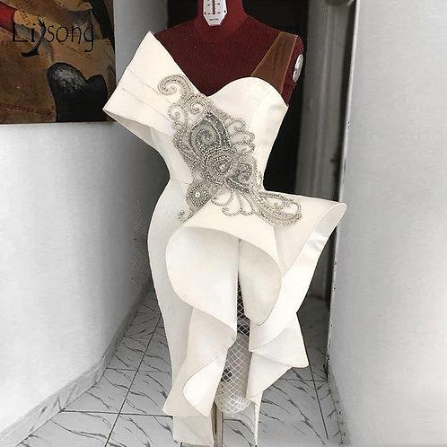 White Ruffles Crystal Formal Dress One Shoulder Special Designer dress