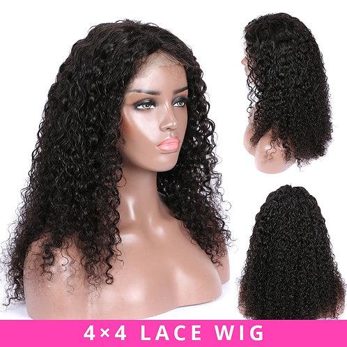 Brazilian Wig 4x4 Lace Kinky Curly Wig Preplucked Human Hair Wigs