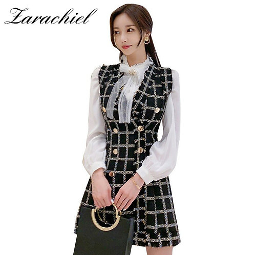 2 Pcs Set Overalls  Diamonds Bow Collar Shirt +Double-Breasted Wool Plaid  Vest